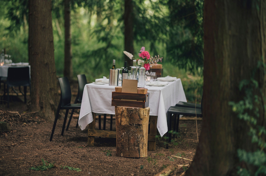 Tables in woods